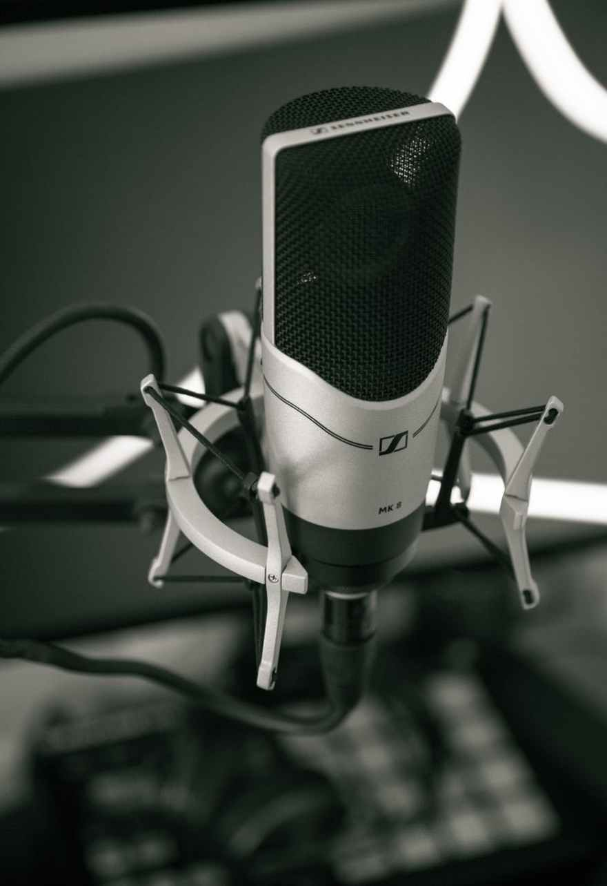 audio black and white close up condenser mic